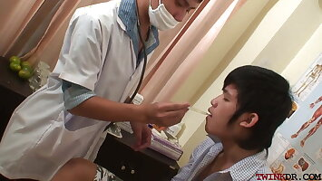 Fisted Asian twink jerking while barebacked by doctor