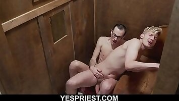 Hung tow-headed church boy fucked in confessional by priest
